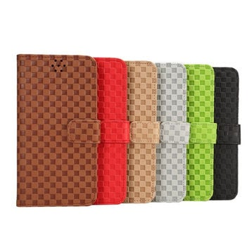 Grid Leather Card Hold Wallet creative cases Cover for iPhone 5S 6 6S Plus Samsung Galaxy S6 Hight Quality