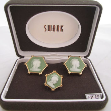 Cameo Cufflinks Roman Soldier Resin Cuff Links Green White Gold Dapper Gentleman Men's Jewelry Gifts for Men