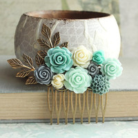 Bridal Hair Piece Aqua Floral Hair Comb Something Blue Bridesmaid Gift Grey Rose Comb Mint Green Flowers for Hair Teal Antique Brass Branch