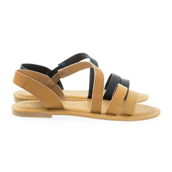Coastline17 Tan By Bamboo, Gladiator Slip On Flat Open Toe Flat Sandal w Elastic Strap
