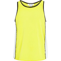 River Island Girls fluro yellow split back tank