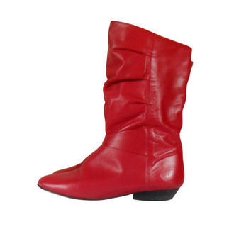 Vintage Red Leather Boot 80s Boot 1980s Boot Women Boot Size 9 Slouch Boot Fashion Boot Retro Boot Low Heel Boot Sexy Boot Women Shoe Size 9