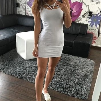 White Cut Out Lace-up Bodycon Casual Pencil Skater Mini Dress