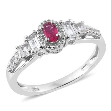 Ouro Fino Rubellite, White Topaz Platinum Over Sterling Silver Ring