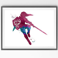 Legend of Zelda Modern Link Watercolor Print, Wall Art Poster, Giclee Illustration, Wall Decor Art Home Decor, Wall Hanging