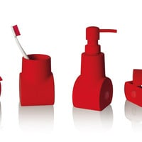 Submarino Porcelain Bathroom Accessory Set in Red design by Seletti