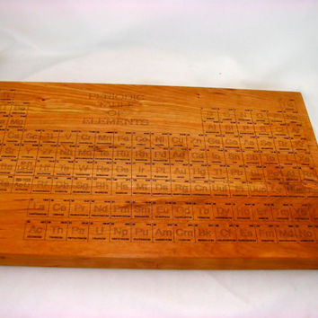 CUTTING BOARD - Large Solid Cherry- Periodic Table - Elements - Wood Board - Laser Engraved