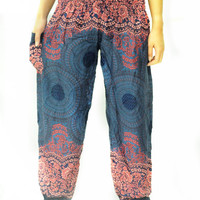 a17Elephant orange bohemian Classic yoga meditation trouser pant unisex dark green color oriental style