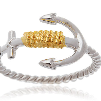 925 Sterling Silver Two-tone Rope and Anchor Ring (6)