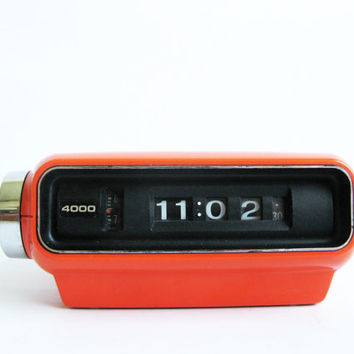 Japanese Vintage Flip Clock SANKYO Digital 4000/ Orange Alarm Clock/ RetroTable Clock / Retro 70's Japan