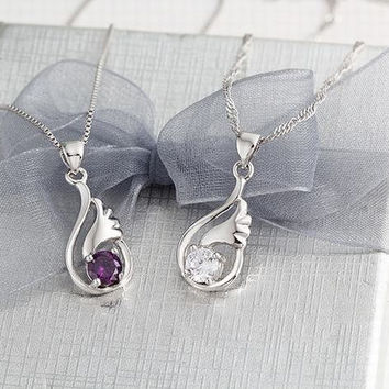 White CZ Necklace - Sterling Silver Solitaire Pendant, Amethyst Necklace Necklac