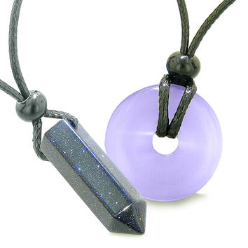 Yin Yang Powers His Hers Love Couple Crystal Point Lucky Donut Goldstone Purple Cats Eye Amulet Necklaces