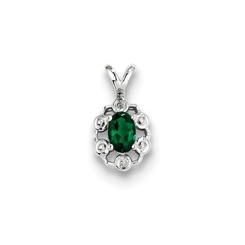 Sterling Silver Created Emerald and Diamond Pendant