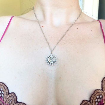 Silver Moon & Sun Pendant Necklace
