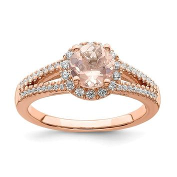 14k Rose Gold Round Morganite Diamond Halo Double Shank Engagement Ring