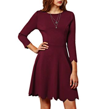 Sweet Round Collar 3/4 Sleeve Pure Color A-Line Mini Dress for Ladies