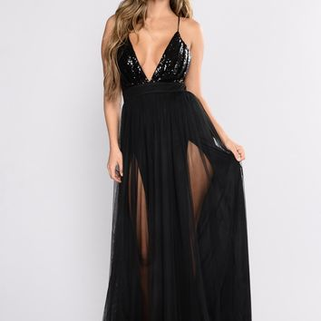 RUNWAY Black Sequin Tulle Dress