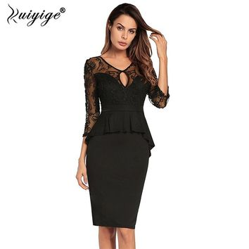 Ruiyige Women Bodycon Backless Hollow Out Black Lace Patchwork Stretch Sexy Club Dress V-Neck Party Midi Prom Evening Vestido