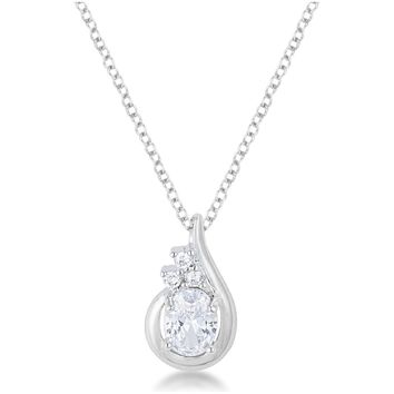 Branca Clear Oval Cubic Zirconia Fashion Pendant | 1.9ct