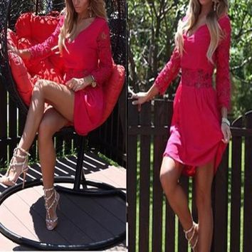 Streetstyle  Casual Red Patchwork Lace Plunging Neckline Long Sleeve Mini Dress