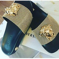 One-nice™ Versace Women Fashion Casual Slipper Shoes golden