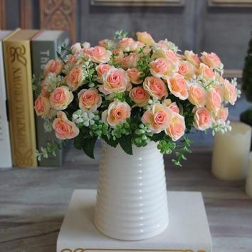 Pretty Charming Delightful 15 Buds 1 Bouquet Mini Rose Artificial Silk Flower Bride Bridal Home Decal Free Shipping