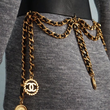Chanel belt RARE HUGE great leather belt gold chain coins meddalion coco chanel