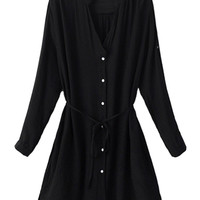 Black Roll-up Sleeve Cardigan