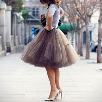 Yuppies Fashion 5 Layers 55cm Tutu Tulle Skirt Vintage Midi Skirt Pleated Skirts Womens Lolita Petticoat faldas Mujer saias jupe