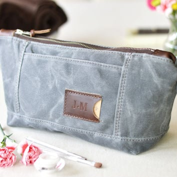 NO. 317 Personalized Toiletry Bag, Gray Waxed Canvas