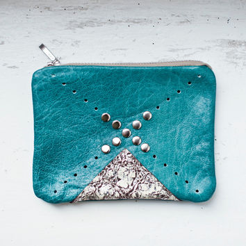APRIL SALE Nomad Turquoise Leather Coin Purse No. CP-2001