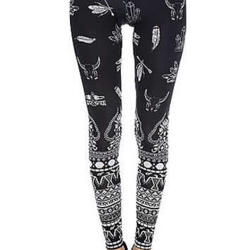 Navajo Print Leggings in Black