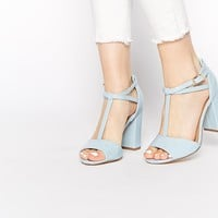 New Look Register Block Heel Pale BlueT Bar Sandals