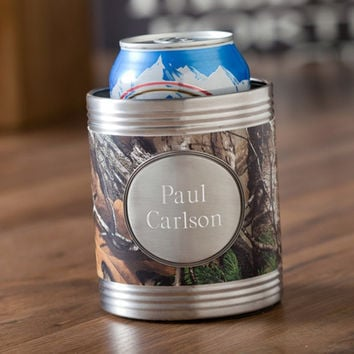 Personalized Real Tree Camo Koozie with Pewter Medallion