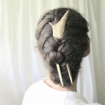 Hair Fork Stick Comb Elk Antler Bone Horn Hair Accessory Steampunk Taxidermy