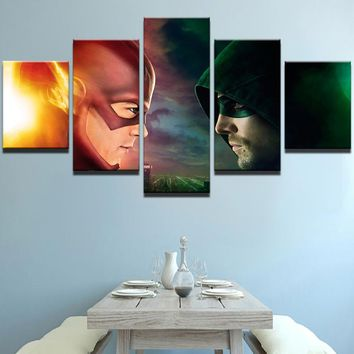 Modern Canvas Art Painting Frame Living Room HD Print Wall Art 5 Panel Picture Movie The Flash VS Arrow Poster Home Decor PENGDA