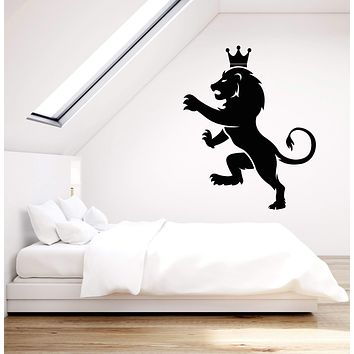 Vinyl Wall Decal Lion King Crown Symbol Blazon Animal Stickers (3001ig)
