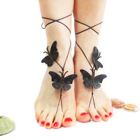 Black Leather Barefoot sandal, Butterfly Anklet, Steampunk, Bridal, Oriental, Genuine leather butterfly, Beach Summer Jewelry