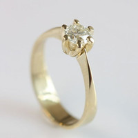 1/2 carat Diamond Engagement Ring, Solitaire 14K Yellow Gold Ring , Women Jewelry, Size Selectable