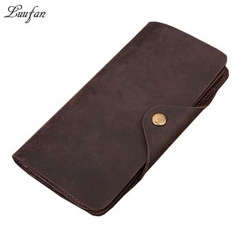 Men's Crazy Horse Leather Long Wallet three layer cow Leather clutch Vintage snap long wallet Hasp purse Phone pocket