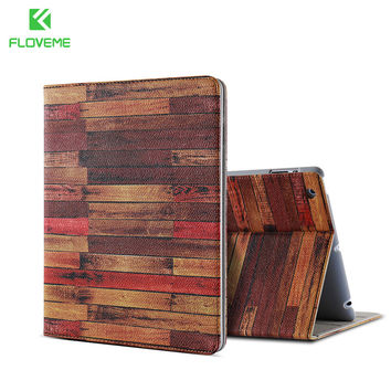 FLOVEME For iPad 4 3 2 Smart Wake Up Cover Slim Wooden Case For New iPad Cover PU Leather Coque Tablet Accessories Stand Holder