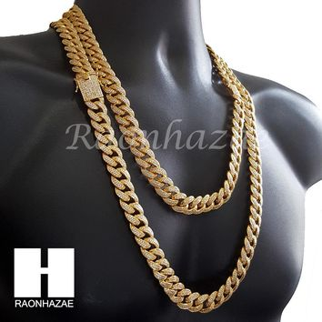 "Iced Out 18K Gold Lab Diamond Cuban Link Chain 15mm Bling 24"" 30"" Necklace L01"
