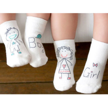 1Pair Girl Boy Baby Infant Kids Foot Sock Soft Non-slip Boot Cuff Slippers Socks