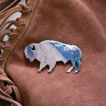 Indian Buffalo pin vintage native american bison brooch mutlicolored gift unisex kitsch