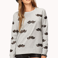Playful Sequined Mustache Pullover