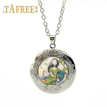 TAFREE Lovely Girl and Her Dog locket necklace Girl's Best Friend pendant necklace for girl birthday gift jewelry ST01