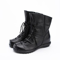 Vintage  Style  Genuine  Leather  Women  Boots  Booties