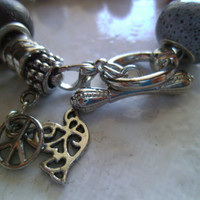 Pandora Style Peace and Love Charm Bracelet by LoveYewDesigns