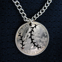 Baseball Quarter hand cut coin by NameCoins on Etsy