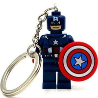 1 Piece Super Hero Avenger Captain America Key Chains and Key Ring Kid Baby Toy Mini Figure Building Blocks Sets Model Toys Minifigures No Orignial Box,new in Sealed Bag #1